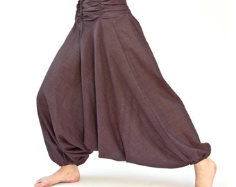 Harem pants made of cotton, unisex in reddish brown