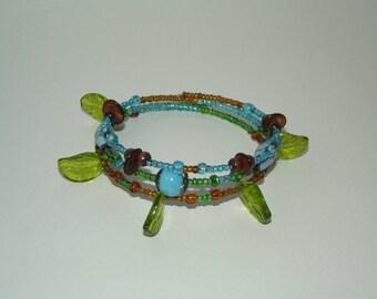 Glass beaded bracelet- plant like handmade beaded wrap around memory wire bracelet
