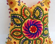 Suzani wool embrodred yello chakra cotton cushion cover hand made square 16x16 inches pillow case