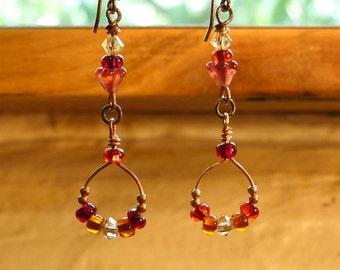 Copper Red Earrings