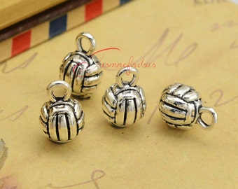 10PCS--13x10mm ,Volleyball Charms, Antique Silver 3D Volleyball Ball Charms Pendants ,sports charm DIY supplies,Jewelry Making