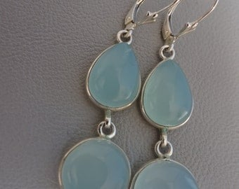 SALE!! 20% OFF!!! Silver earrings with gemstone aquamarine - dangling - sterling 925 zilver gift for girl woman