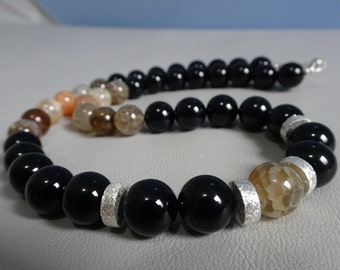 Men/wonan beads necklace - Onyx,Agate and sterling silver beads - 925 sterling silver - Boho - gemstone beaded necklace