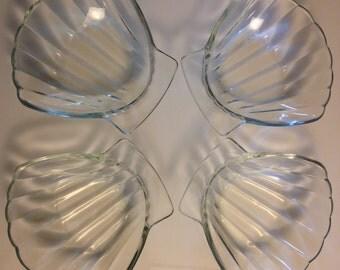 Vintage Set of 4 Sovirel Glass Clam Shell Bowls - Free Shipping!