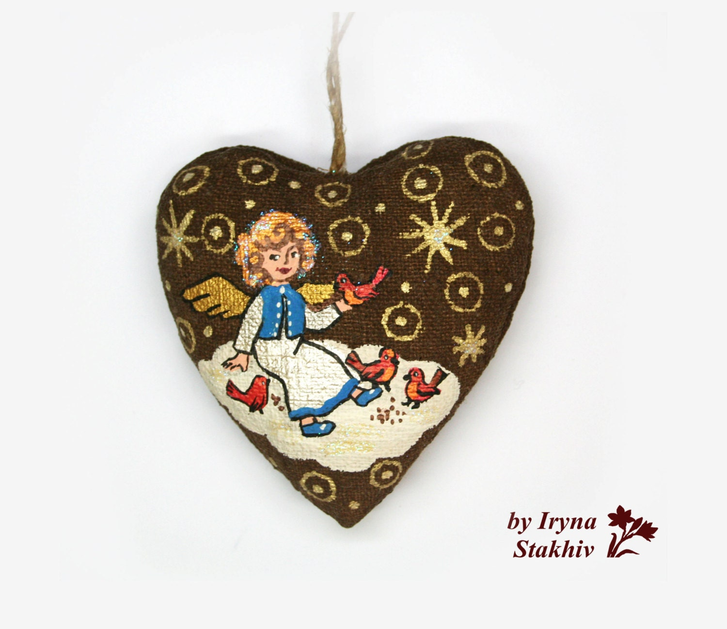 Angel ornament christmas tree decor heart decoration for Angel christmas tree decoration