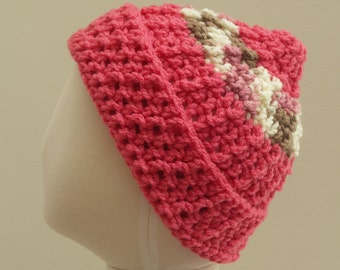 Coral Crocheted hat with pink, white, and cocoa striped hat M (T3-T4)