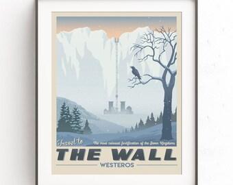 The Wall art. Nigth Watch. John Snow. Retro travel poster. The seven kingdoms. Westeros art. Castle black. Crow illustration. Citizen nerd