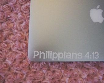 Philippians 4:13 - Vinyl Decal - Laptop - Religious