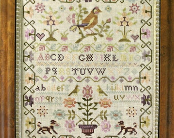 Pink Sparrow Sampler by Country Stitches Counted Cross Stitch Pattern/Chart