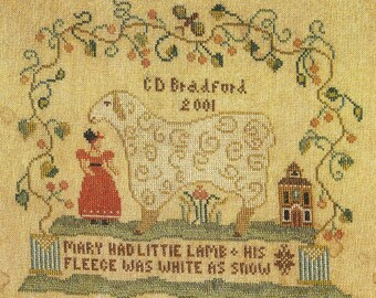 Mary Had A Little Lamb by Little by Little Counted Cross Stitch Pattern/Chart