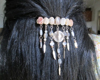Moonstone and silver feather Hair Clip