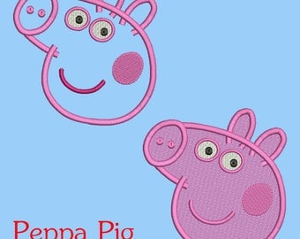 Peppa Pig  designs 7 Size Instant Download 8 Formats machine embroidery pattern