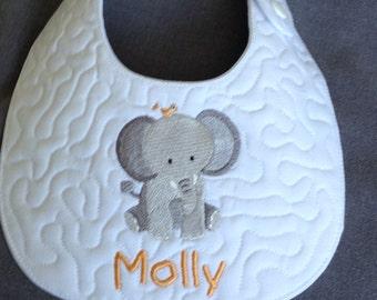 Personalised Baby Bib - Elephant