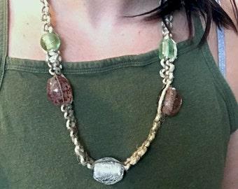 Grey Infused Long Hemp Necklace
