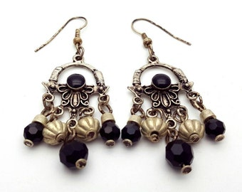 Silver and Black Chandelier Earrings Vintage from the 90s Preppy