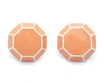 Mini Coral Octogonal Tiny Octagon Stud Earrings Vintage from the 80s Miniature