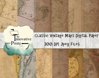 Classic Vintage Maps Digital Pape, Old maps textures digital paper, vintage maps,  World Map Scrapbook Paper, antique maps, old world,