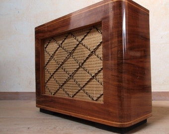 Guitar and amplifier in 1950s mp3 speaker cabinet