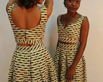 Skirt waist high + crop top in wax