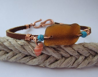 Sea glass copper wire-wrapped leather bracelet