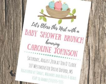 BABY Shower Invitation- Bless This Nest