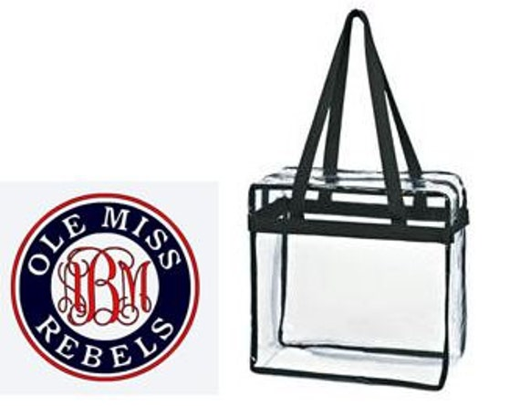 Ole Miss Rebels Custom Monogram/ Personalized Game Day Clear Tote Bag with Zipper Closure
