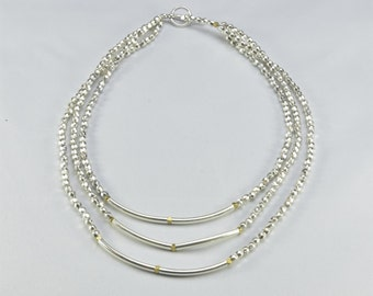 Three Level Short Oval Beads Necklace- 0042