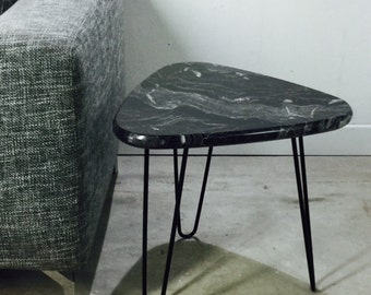 Table granite legs pinhead Mid Century style Hairpin legacy by workshop Bussière shop