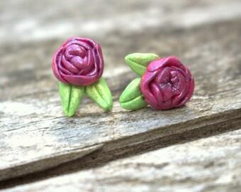 Rose & Leaves stud earrings, polymer clay, handmade, nickel-free
