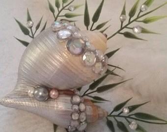 Mermaid Wedding two shell hair clip