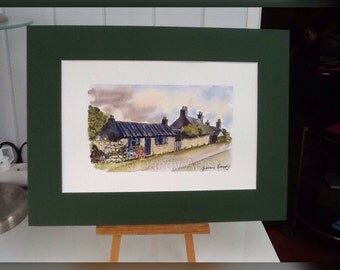 Country Cottages watercolour and ink.