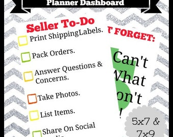 Digital Printable Online Seller To Do Checklist Planner Dashboard 5x7  Life Happy Travel