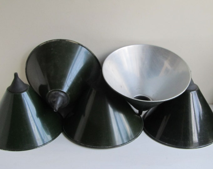 Industrial lamp shade, Military dark green metal pendant ceiling shades, vintage lamp hood, mid-century DIY home decor, retro light fitting