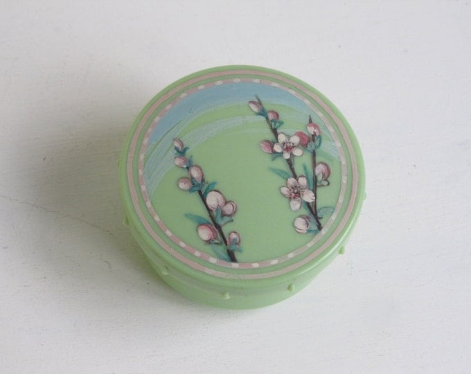 Vintage jewellery box, green plastic powder jar, handpainted pink cherry blossoms on lime green, Li-Lo product, made in Britain