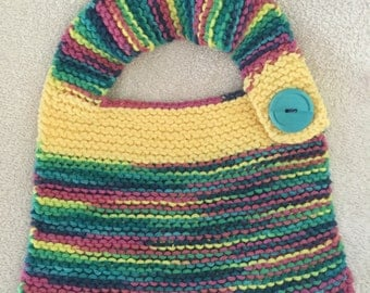 hand knitted multi colored baby bib