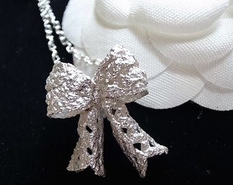 Lace Ribbon Bow Sterling Silver Necklace Handmade