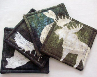 Woodland Coasters Quilted Coasters Forest Coasters Animal Coasters Handmade Coasters Drink Coasters Fabric Coasters Table Coasters