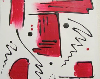 Abstract acrylic painting 50x50cm black-white red