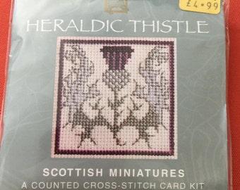Heraldic Thistle Scottish Miniatures counted cross stitch card kit