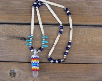 Native American Beaded Quartz Crystal Necklace Beaded Crystal Necklace Beaded Crystal Beaded Neckpiece
