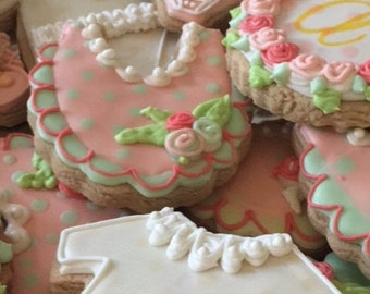 Shabby Chic Baby Decorated Cookies