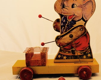 VINTAGE PULL TOY Elephant Playing Xylophone (Pre-Fischer Price Era)
