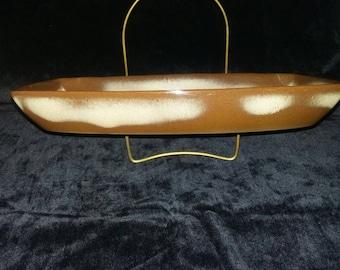 Vintage Frankoma Pottery Plainsman Brown Serving Bowl. Large Rectangular Frankoma Dish from the 1950s.