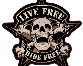 "Live Free Ride Free, With 5 Pointed Star - High Quality Iron-on / Saw-on, Rayon Skull PATCH - 4"" X 4"""