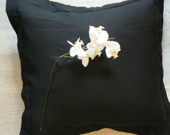 Black linen decorative pillow cover, linen cushion cover with Oxford flange,Eco linen fabric, 16 x16, 18x18, 20x20, 22x22, 26x26 Euro pillow