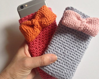 crochet for iphone6 cover. Coral with orange or bluish-grey tie with pink bow. crochet iphone cover. ideal gift.