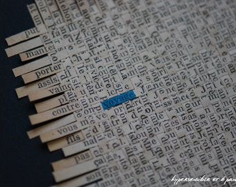 """Collage of lines of text woven paper - crossword - """"Journey"""""""