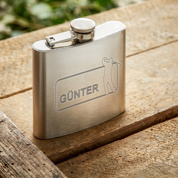 Drinking Flask - Personalised with Name - Engraved with Sports Theme