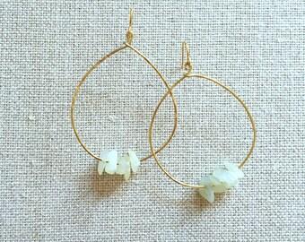 OLIVE and GREEN Jade Stone Tear Drop Earrings Beads Delicate Hammered Gold-tone Metal Brass Wire Hoop Geometric Teardrop