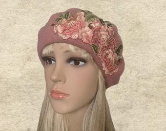 Warm felted beret, Womens felt beret, Pink winter beret, French felted beret, Embellished beret, Lady felt beret, Felted beret women